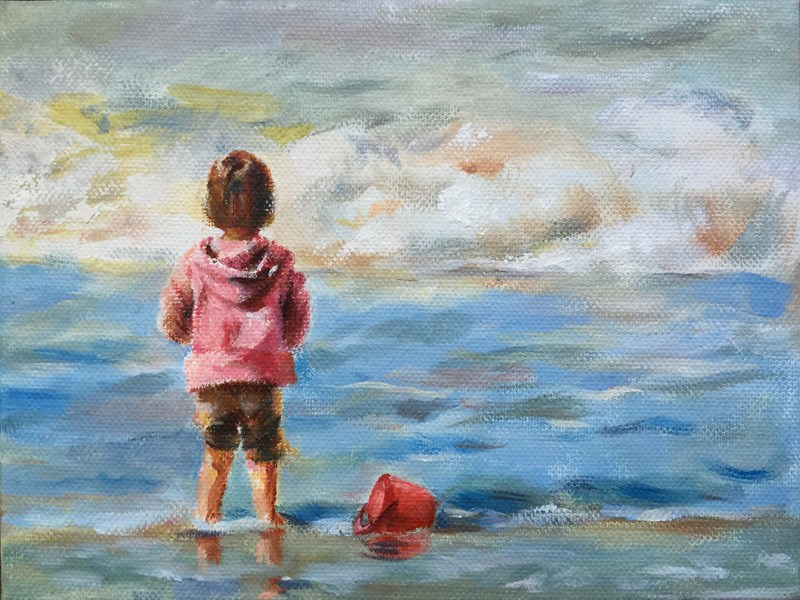 """A little girl"" original fine art by Joy Cai"