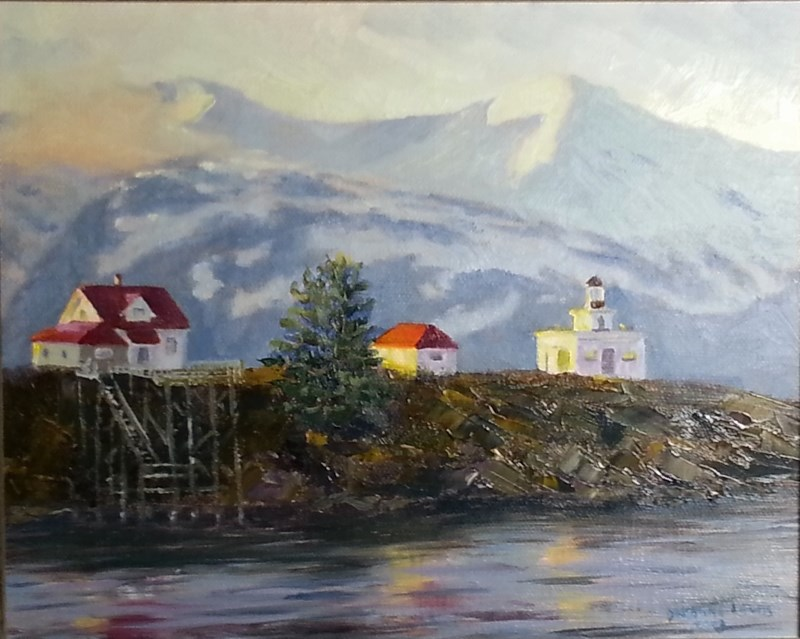 """Point Retreat Lighthouse"" original fine art by Christine Lewis"