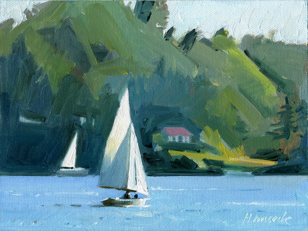 """Sailing Around Burton"" original fine art by Gretchen Hancock"