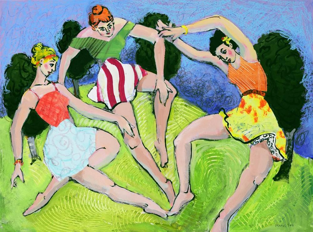 """Rain Dance, women dancing in Spring, contemporary figurative painter, female figuration, three muses"" original fine art by Marie Fox"