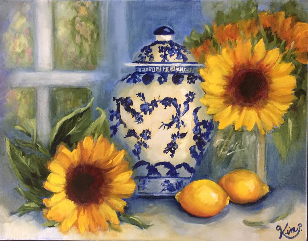 """Still life with Sunflowers, Lemons and blue and white Ginger Jar"" original fine art by Kim Peterson"