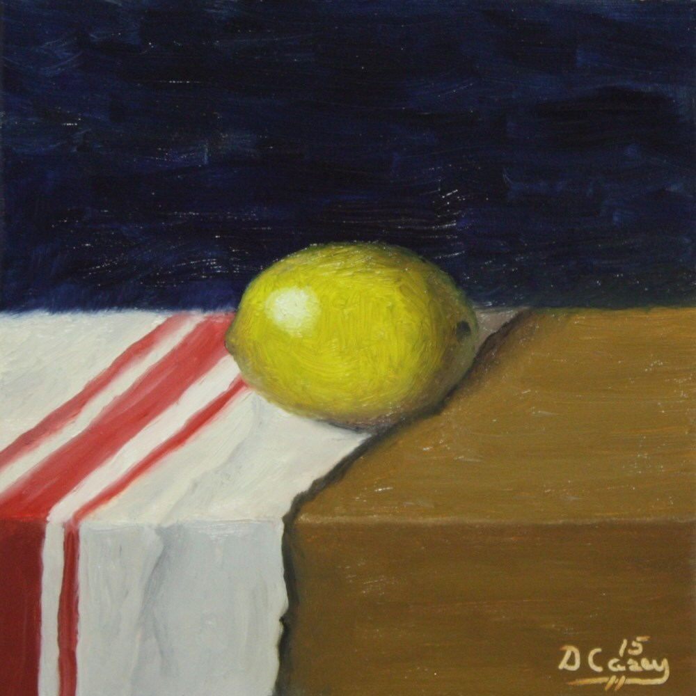 """Kitchen Painting - Lemon 009a 6x6 oil on wood panel - Dave TheDailyPainter"" original fine art by Dave Casey"