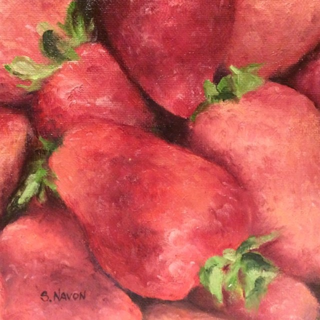 """Strawberries"" original fine art by Stephanie Navon Jacobson"