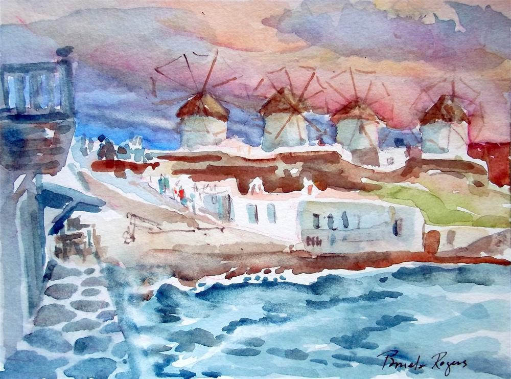 """Mykonos, Sunset hour"" original fine art by Pamela Jane Rogers"