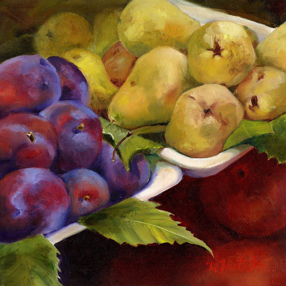 """Market Series #5  Plums and Pears"" original fine art by Diane Hutchinson"