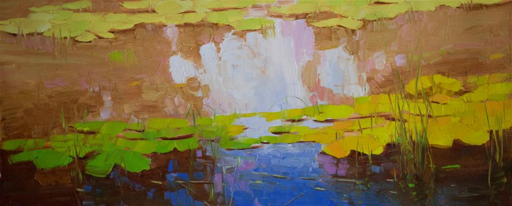 """""""Waterlilies pond Handmade oil Painting Impressionism One of a kind"""" original fine art by V Y"""