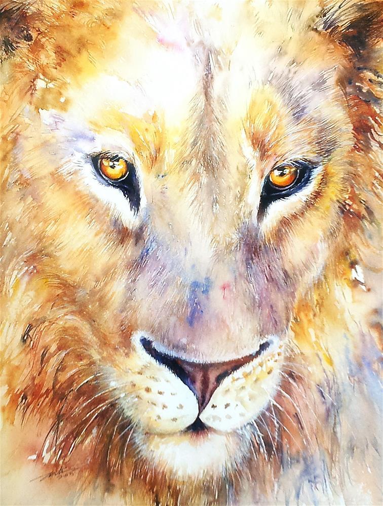 """Lion King"" original fine art by Arti Chauhan"