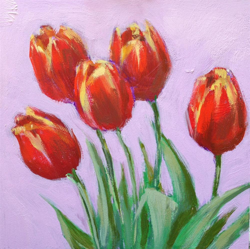 """Renewal, 6x6 Acrylic Painting of Tulips by Kelley MacDonald"" original fine art by Kelley MacDonald"