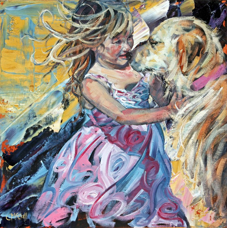 """Puppy Love"" original fine art by Claire McCall"