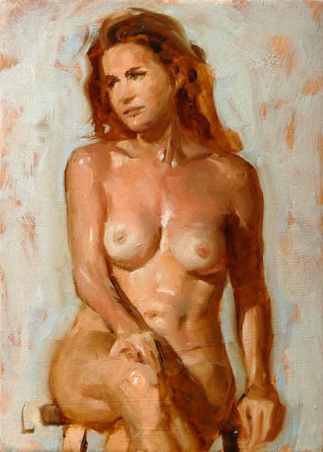 """Seated Nude"" original fine art by John Larriva"
