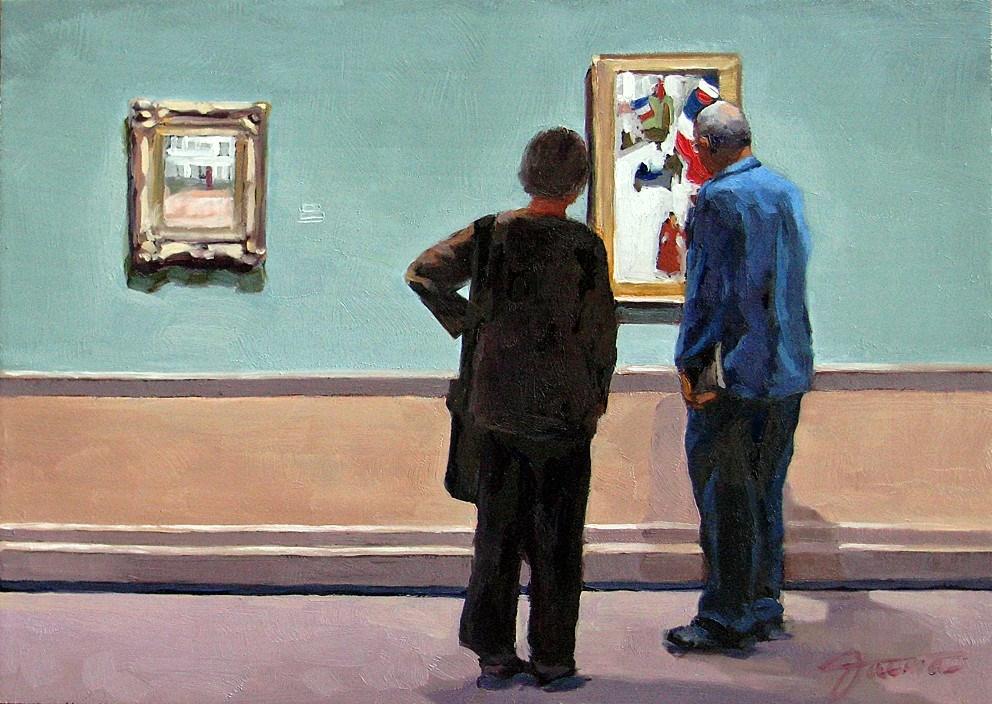 """Mutual Admiration-Painting People in Art Gallery Series"" original fine art by Joanna Bingham"