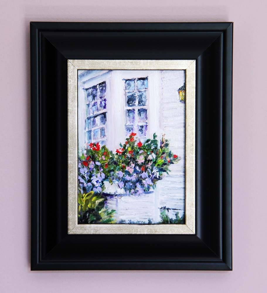 """Flower Boxes by the Ocean"" original fine art by Shelley Koopmann"