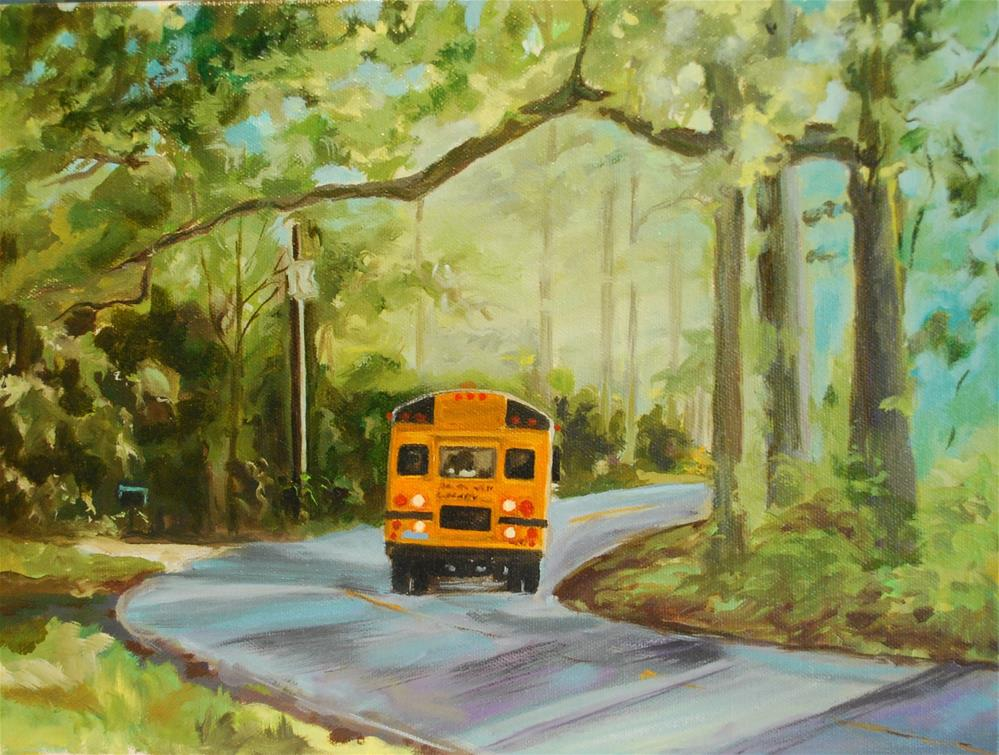"""Morning bus ride"" original fine art by Beverley Phillips"