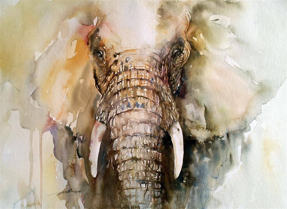"""Amber Elephant"" original fine art by Arti Chauhan"