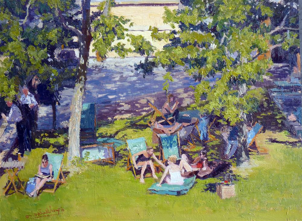 """Summer Shadows, South Bank"" original fine art by Adebanji Alade"