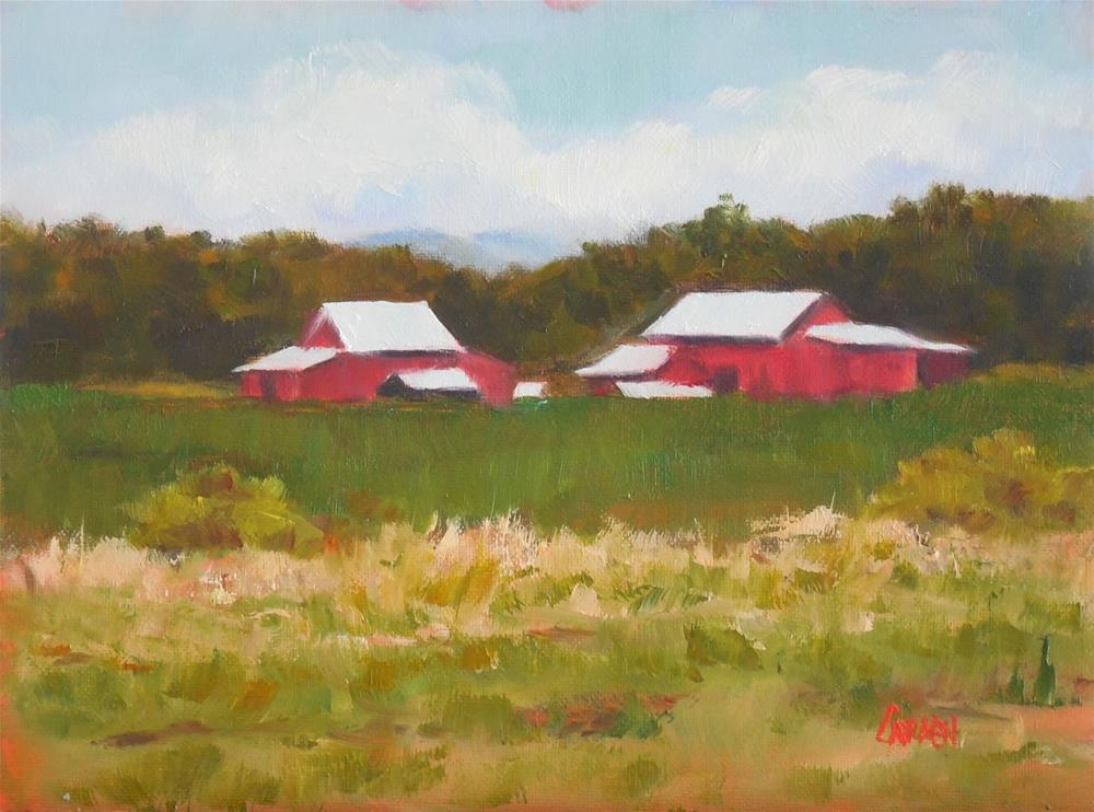 """Farmland, 8x6 Oil on Canvas Panel, Landscape, Purple Hull Peas and Frog"" original fine art by Carmen Beecher"