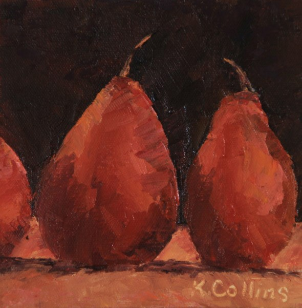 """Red Pear Study"" original fine art by Kathy Collins"