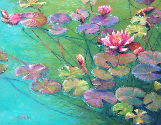 """Lillies On The Rise"" original fine art by Cindy Gillett"