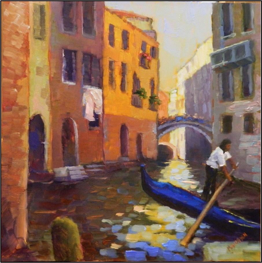 """In Between Customers, 12x12, oil on panel"" original fine art by Maryanne Jacobsen"