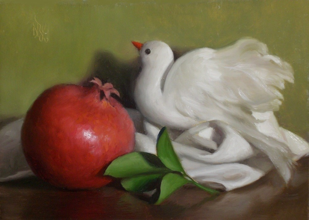 """Pomegranate with Dove"" original fine art by Debra Becks Cooper"