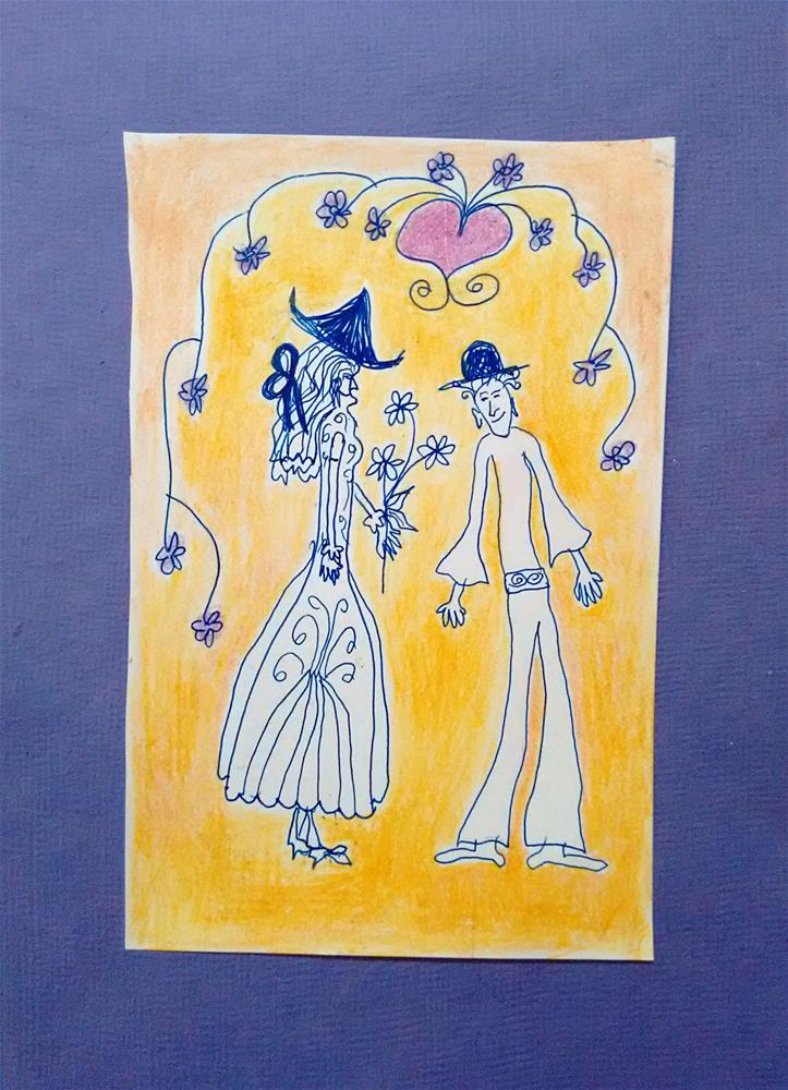 """I love you even if your shoes are not perfect-miniature"" original fine art by Adéla Svobodová"