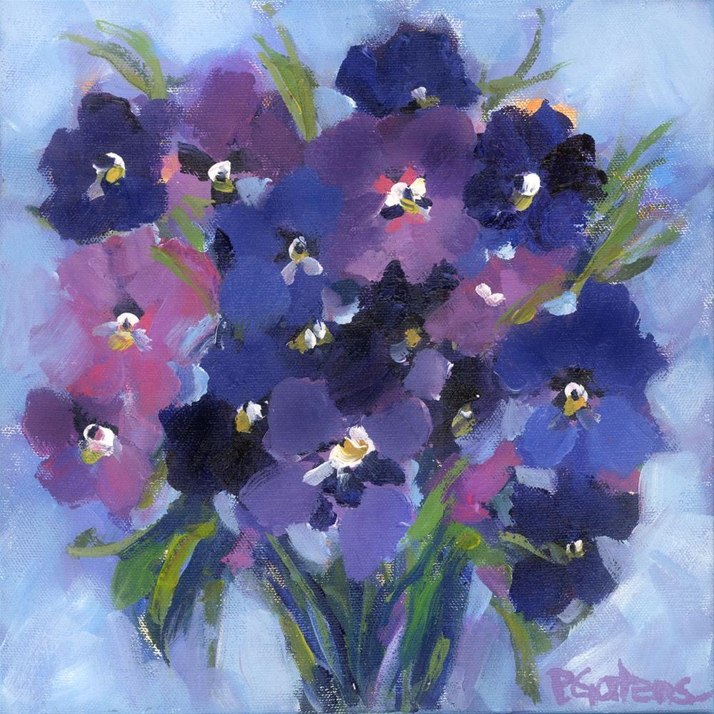 """""""Periwinkle Pansies"""" original fine art by Pamela Gatens"""