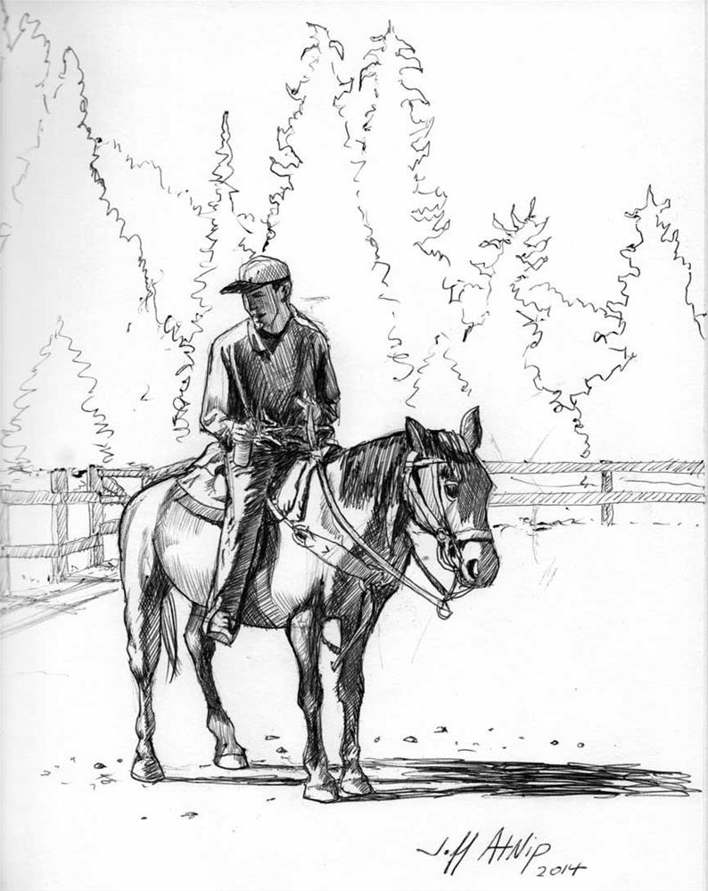 """Boy on a Horse"" original fine art by Jeff Atnip"