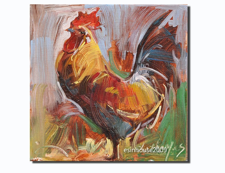 """Rooster Art Chicken Hen Barn Original Oil canvas panel Painting 6X6"" original fine art by Thomas Xie"