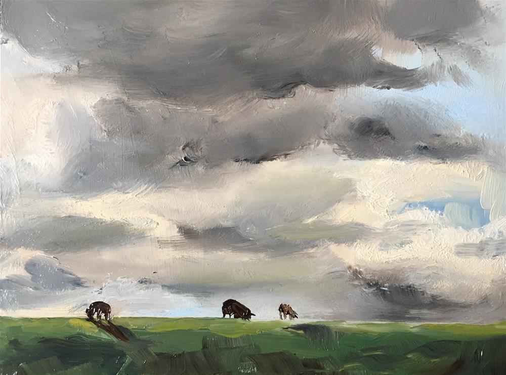 """""""Sheep on the dyke"""" original fine art by Philine van der Vegte"""