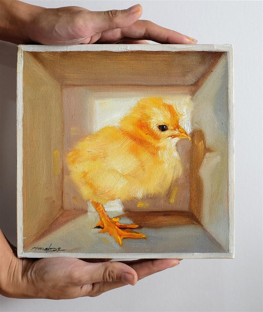 """Chick in a box II"" original fine art by Haze Long"