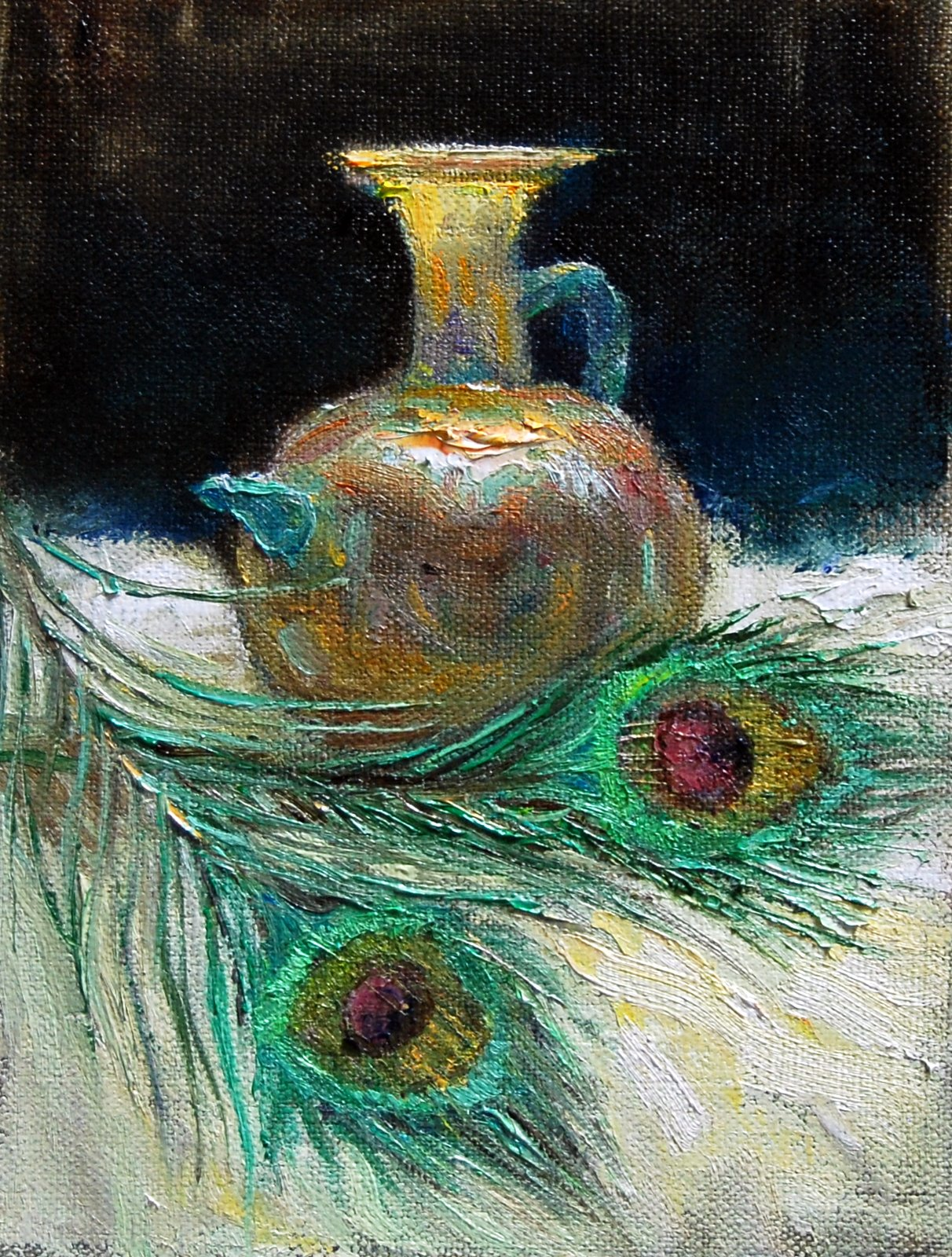 """Ancient Glass with Peacock Feathers"" original fine art by Julie Ford Oliver"