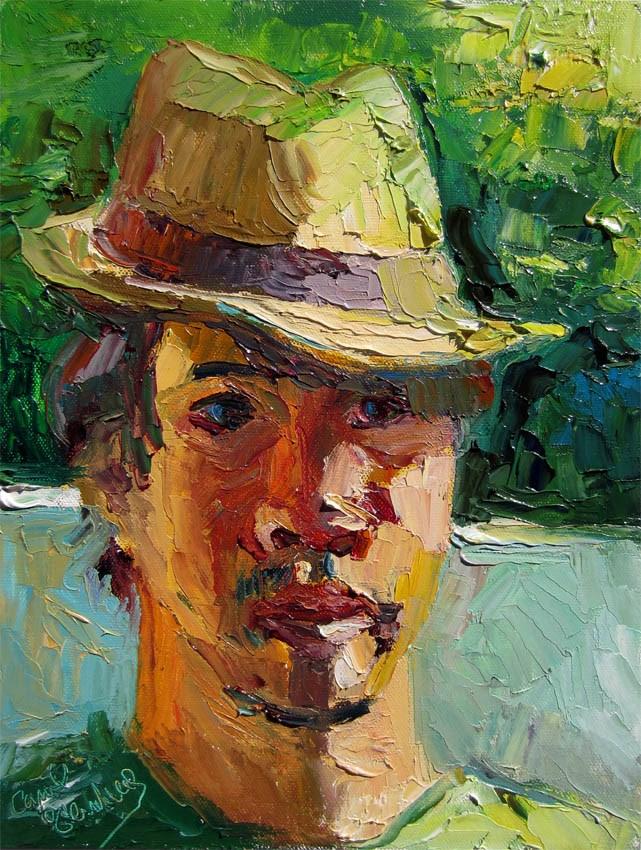 """Bert in Straw Fedora"" original fine art by Carol Steinberg"