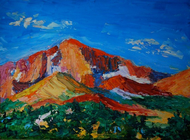 """Long's Peak in Rocky Mountain National Park"" original fine art by Liz Zornes"