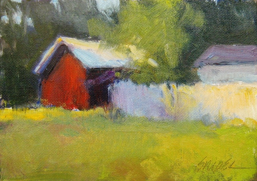 """The Red Shed, Bay St. Louis, MS"" original fine art by Connie Snipes"