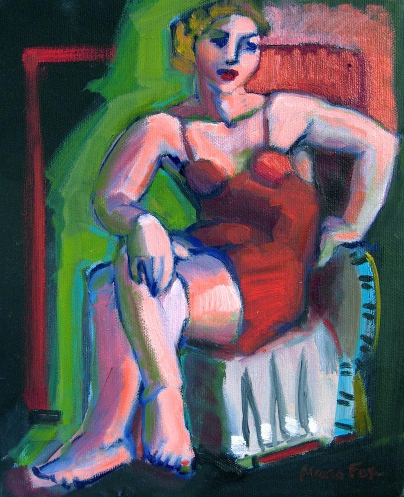 """Figurative oil painting woman seated red dress, figure painter"" original fine art by Marie Fox"