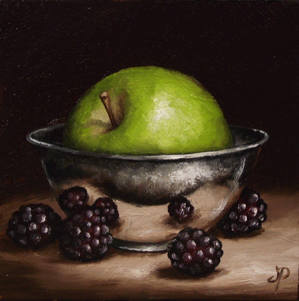 """Green Apple in Silver"" original fine art by Jane Palmer"
