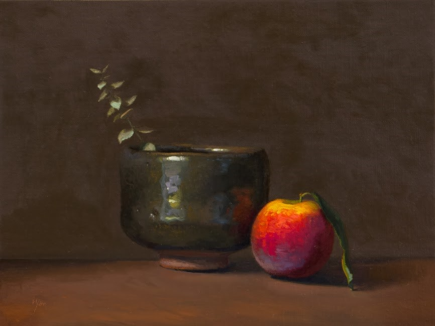 """Still Life with Eucalyptus, Peach, and Korean Bowl   (+ 3 New Workshops)"" original fine art by Abbey Ryan"