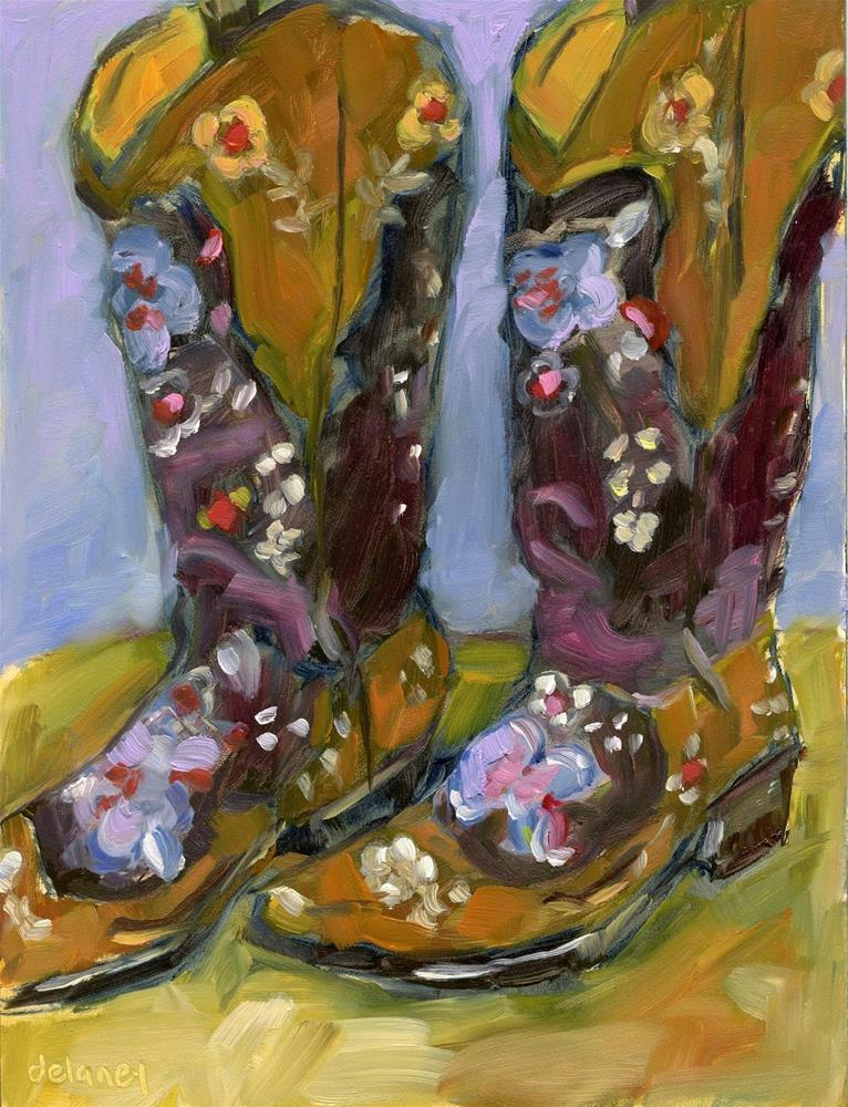 """THESE BOOTS ARE MADE FOR WALKING"" original fine art by Jean Delaney"