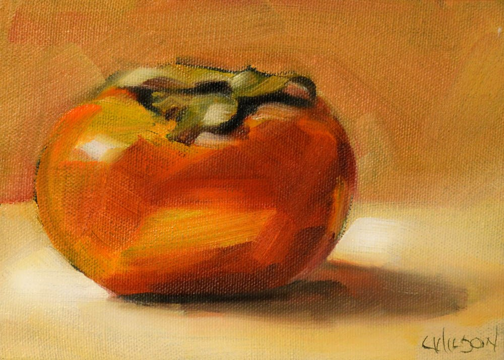 """Persimmon on Gold"" original fine art by Cheryl Wilson"