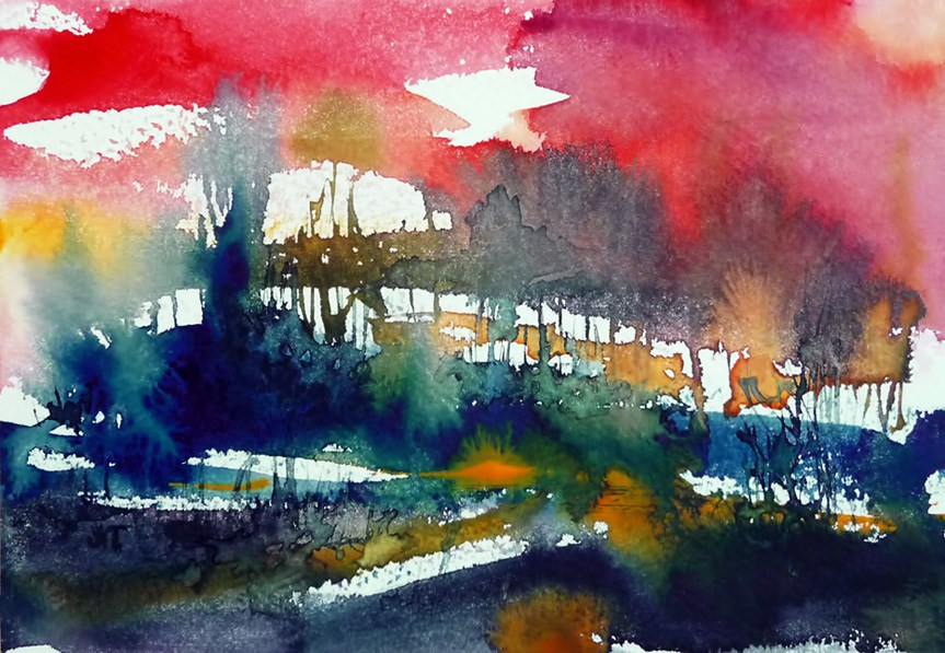 """""""Edge of the forest at sunset"""" original fine art by Mikko Tyllinen"""