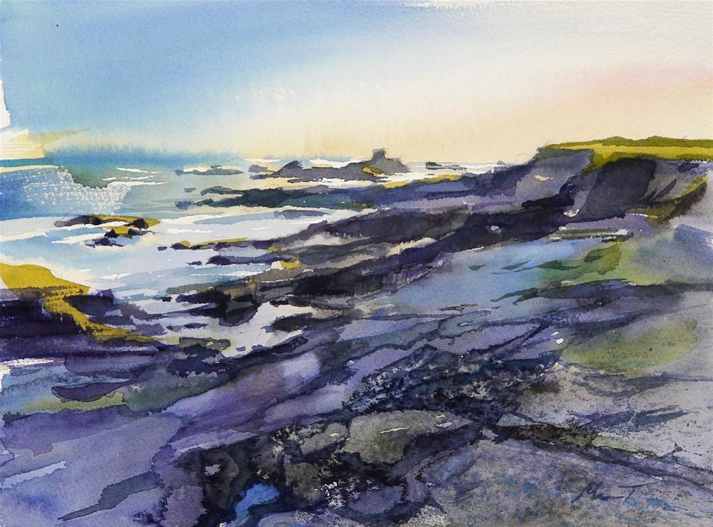 """rocks in Quiberon"" original fine art by Beata Musial-Tomaszewska"