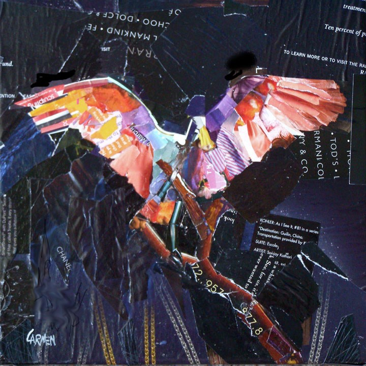 """Cleared for Takeoff, 10x10 Collage on Canvas"" original fine art by Carmen Beecher"