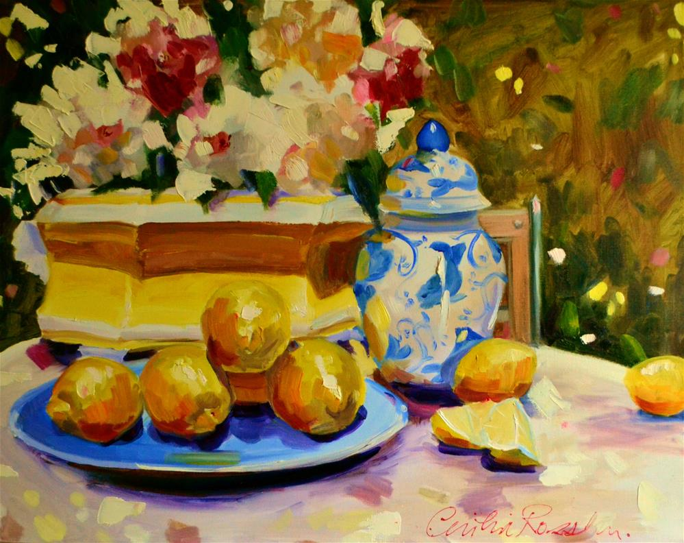 """LEMONS IN PROVENCE"" original fine art by Cecilia Rosslee"