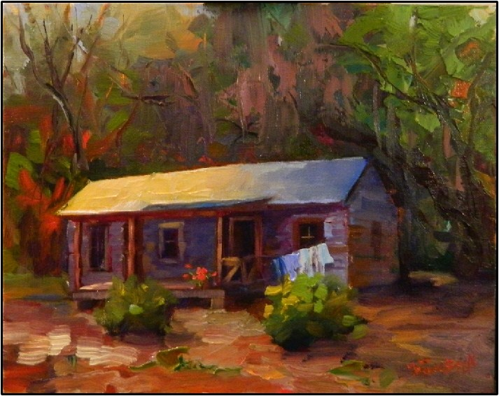"""Humble Abode"", 8x10, oil on linen, Florida Cracker Shack, Marjorie Keenen Rawlings, Cross Creek original fine art by Maryanne Jacobsen"