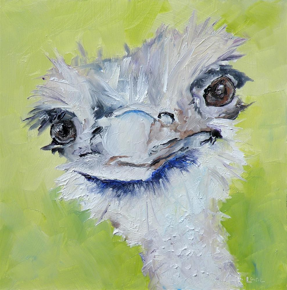 """SUZIE O AND ANGUS O TWO OSTRICH PAINTINGS SOLD BEFORE THEY WERE OUT OF THE GATE!"" original fine art by Saundra Lane Galloway"