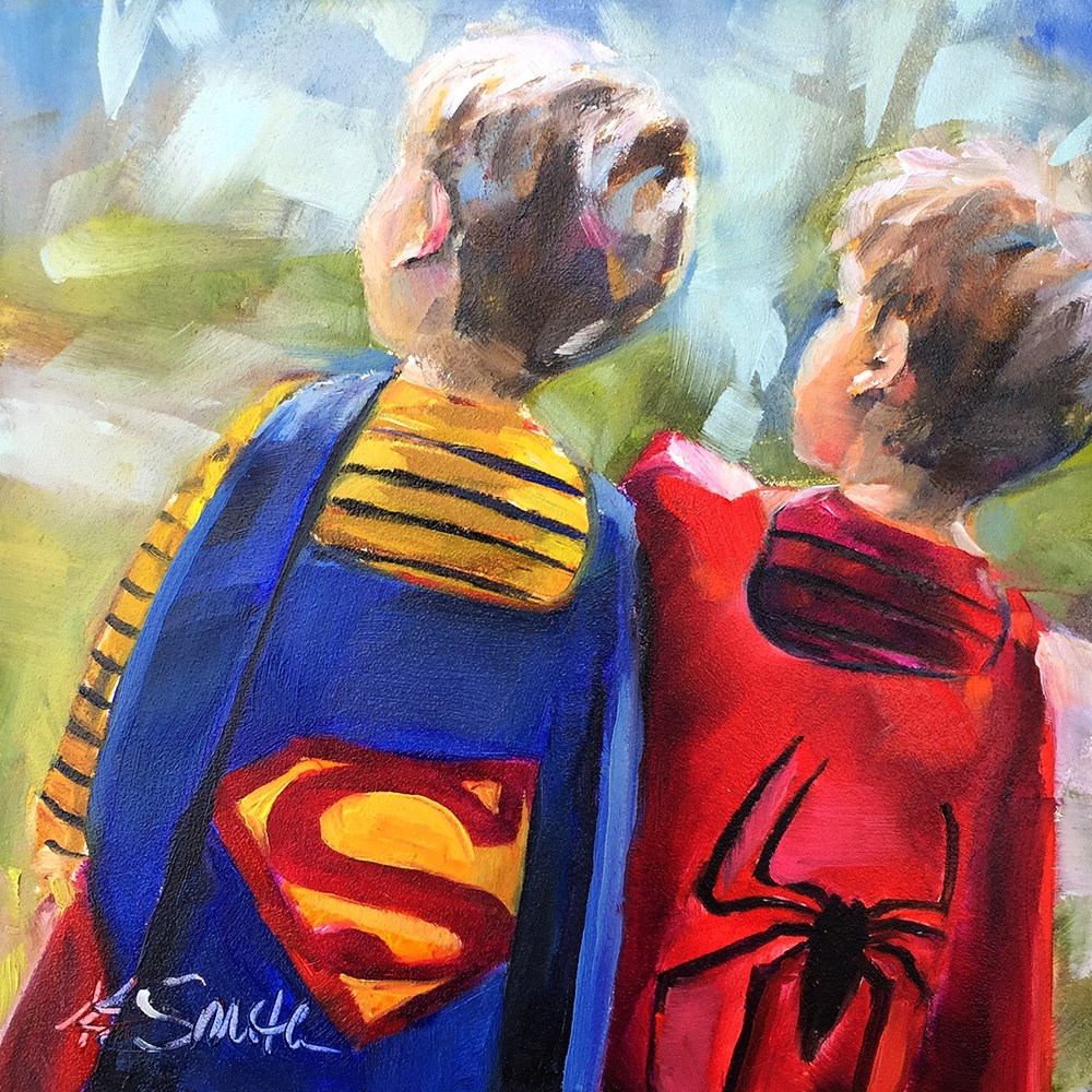 """ready to save the day"" original fine art by Kim Smith"
