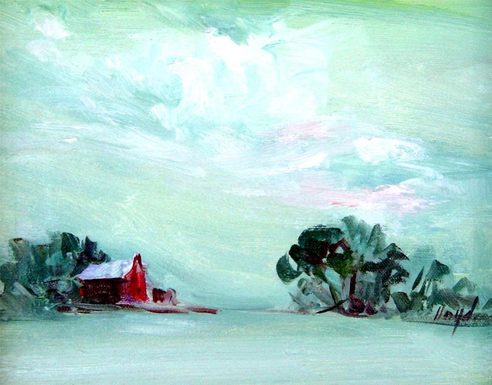 """Little Red Barn II"" original fine art by Diane Lloyd"