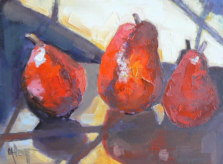 """ORIGINAL OIL STILL LIFE PEAR PAINTING, TROIS POIRES AU SOLEIL"" original fine art by Carol Schiff"