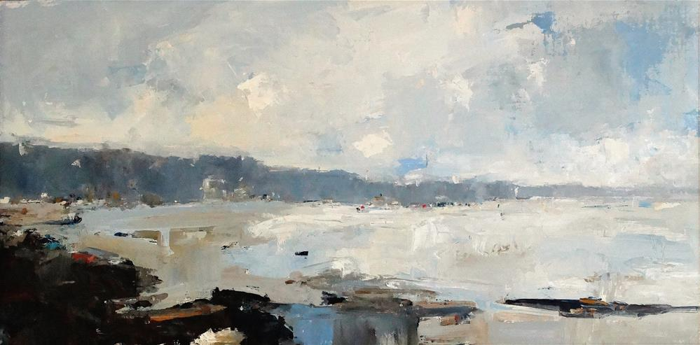 """Beach Morning III 15x30 oil 2014"" original fine art by Deborah R Hill"