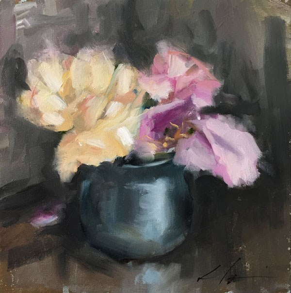 """Coffee Shop Flowers"" original fine art by Clair Hartmann"